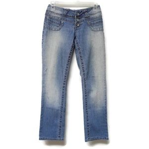 Angels button fly faded jeans